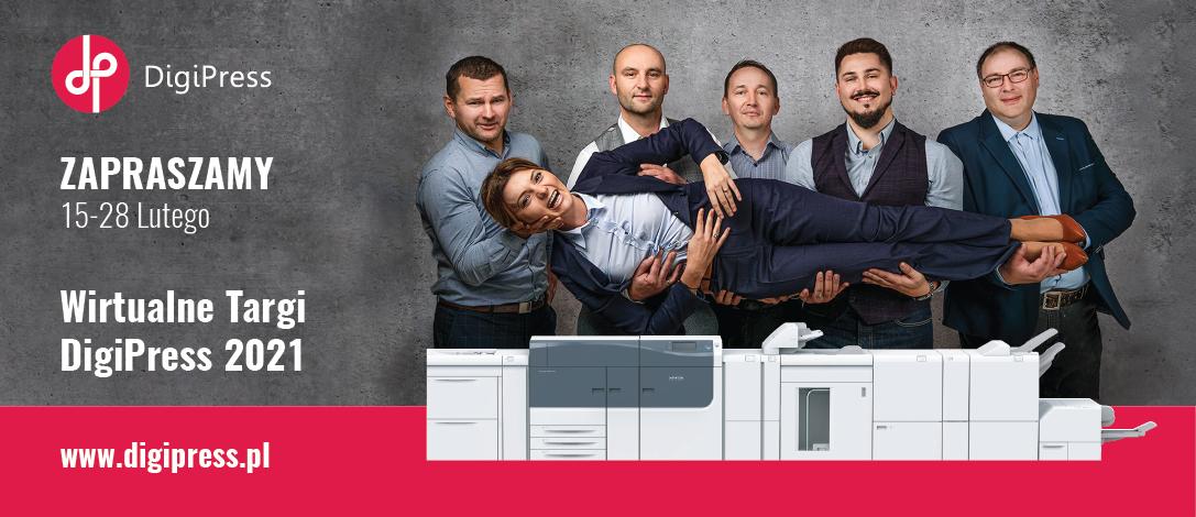 digipress 2021 wirtualne targi zdjęcie z zespołu digipres na tlle maszyny drukującej irides